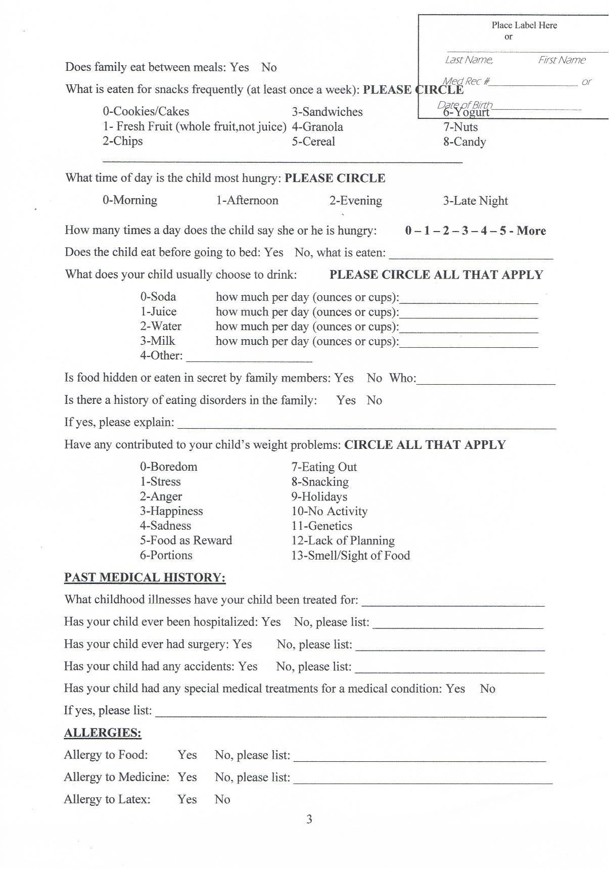 Info Form New px Info Form For Obese